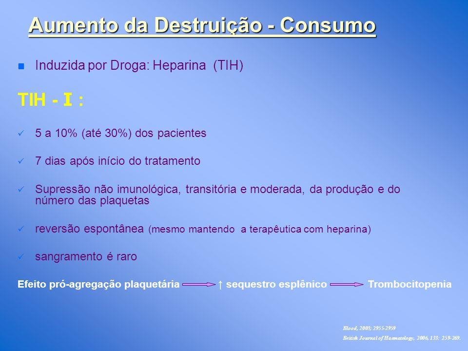 n n Induzida por Droga: Heparina (TIH) TIH - Ι : 5 a 10% (até 30%) dos pacientes 7 dias após início do tratamento Supressão não imunológica, transitória e moderada, da produção e do número das plaquetas reversão espontânea (mesmo mantendo a terapêutica com heparina) sangramento é raro Aumento da Destruição - Consumo Efeito pró-agregação plaquetária sequestro esplênico Trombocitopenia Blood, 2003; 2955-2959 British Journal of Haematology, 2006, 133: 259-269.