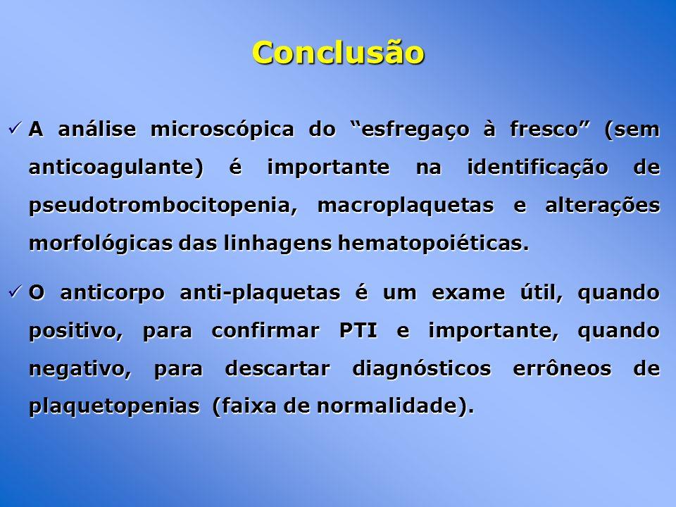 A análise microscópica do esfregaço à fresco (sem anticoagulante) é importante na identificação de pseudotrombocitopenia, macroplaquetas e alterações