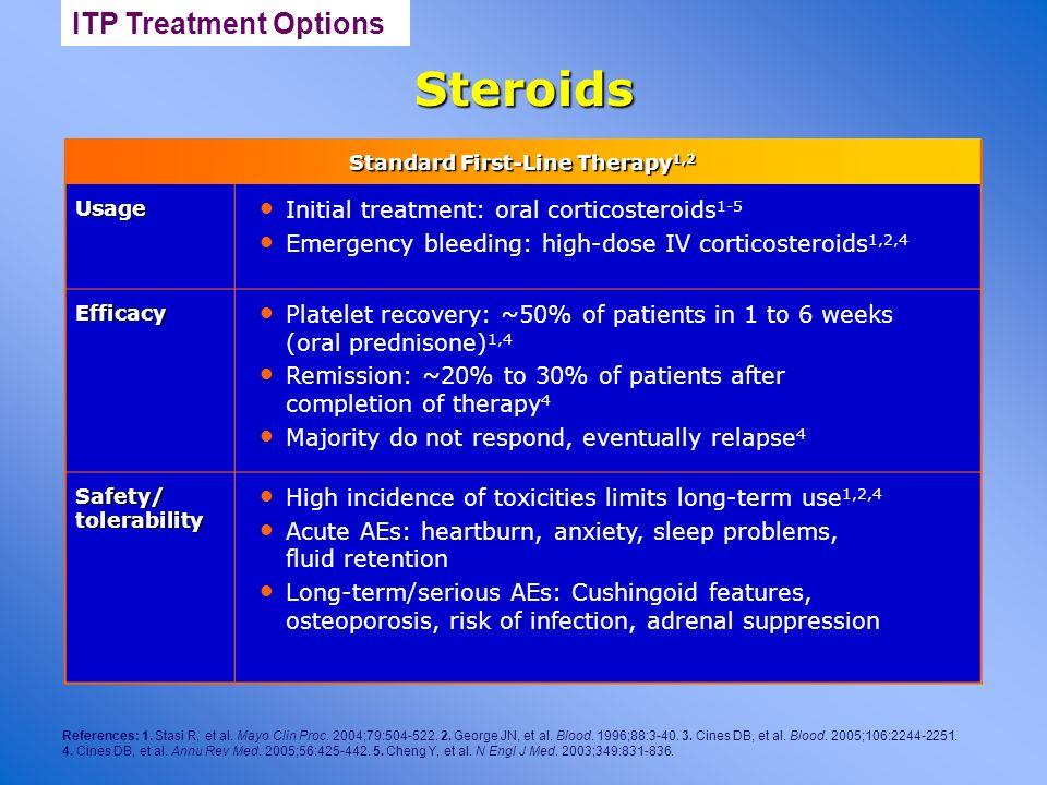 Steroids References: 1. Stasi R, et al. Mayo Clin Proc. 2004;79:504-522. 2. George JN, et al. Blood. 1996;88:3-40. 3. Cines DB, et al. Blood. 2005;106
