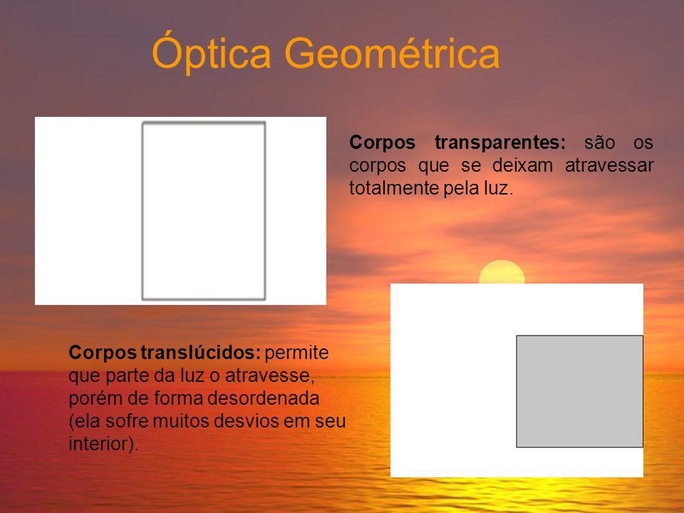 Óptica Geométrica Corpo luminoso: são os corpos que emitem luz própria. Exemplo: o Sol, as estrelas, a chama de uma vela, etc. Corpo iluminado: são os