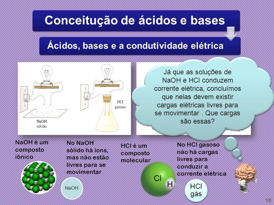 9 ÁcidosBases Sabor azedo Sabor adstringente Torna rósea Tornassol Torna azul Tornassol Reage com metais liberando H 2 Reage com ácido formando sal e