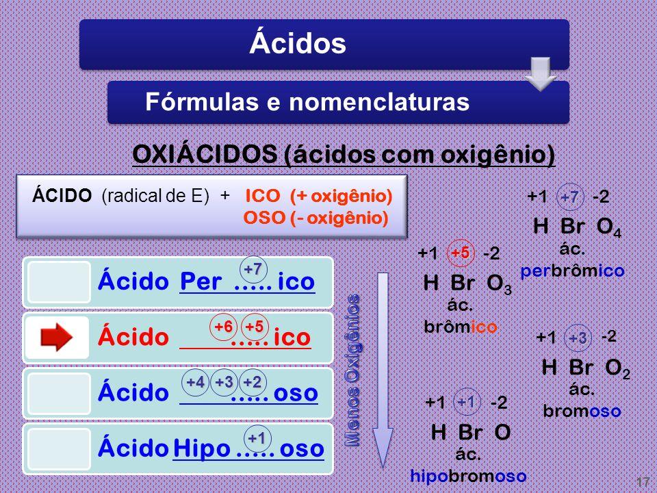 16 HIDRÁCIDOS (ácidos sem oxigênio) ÁCIDO (Radical do E) + ÍDRICO HCl : ácido clorídrico HBr : ácido bromídricoH 2 S : ácido sulfídrico HF : ácido flu