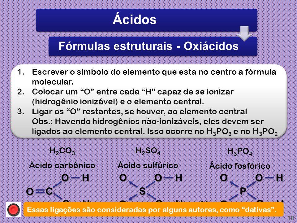17 Ácido Per..... ico Ácido..... ico Ácido..... oso Ácido Hipo..... oso OXIÁCIDOS (ácidos com oxigênio) Ácidos Fórmulas e nomenclaturas H Br O 4 +1-2