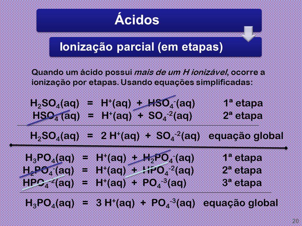 19 Ácidos Ionização de ácidos Os átomos de hidrogênio que aparecem na fórmula de um ácido e podem ser liberados como H + (H 3 O + ) são chamados de hi