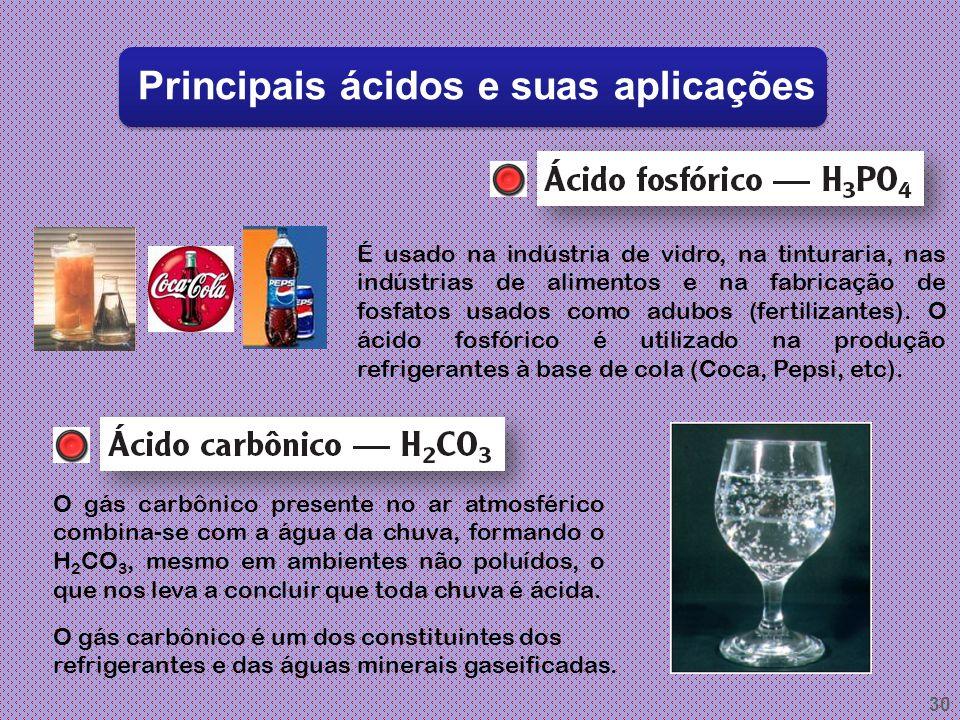 29 Principais ácidos e suas aplicações É o nome com que se indica uma solução aquosa do gás cianídrico, que é incolor, com cheiro característico de am