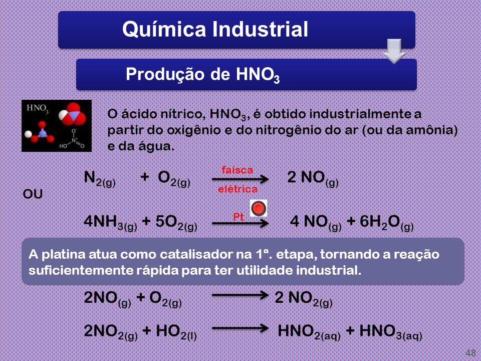 47 Química Industrial Produção de H2SO4 O ácido sulfúrico é fabricado a partir das matérias-primas enxofre mineral, oxigênio do ar e água. S (s) + O 2