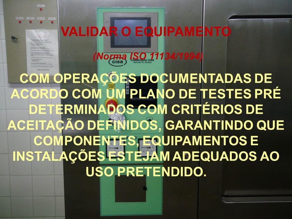 (Norma ISO 11134/1994) COM OPERAÇÕES DOCUMENTADAS DE ACORDO COM UM PLANO DE TESTES PRÉ DETERMINADOS COM CRITÉRIOS DE ACEITAÇÃO DEFINIDOS, GARANTINDO Q