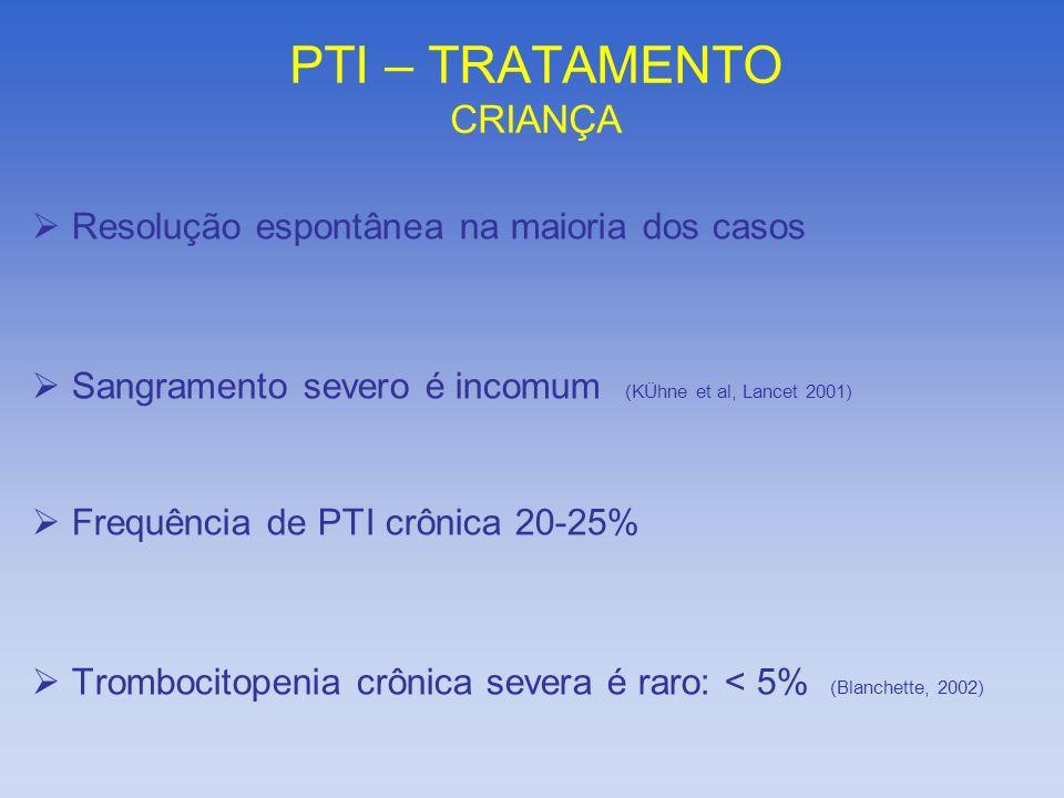 PTI – TRATAMENTO CRIANÇA Resolução espontânea na maioria dos casos Sangramento severo é incomum (KÜhne et al, Lancet 2001) Frequência de PTI crônica 2