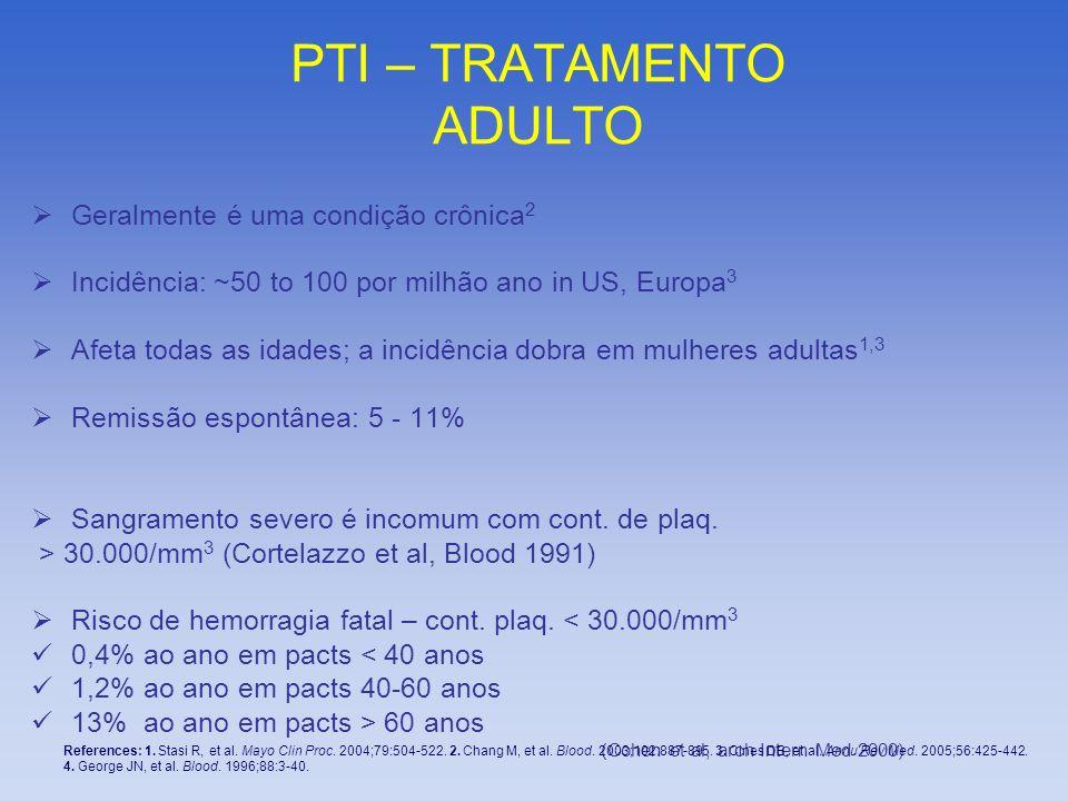 PTI – TRATAMENTO ADULTO Geralmente é uma condição crônica 2 Incidência: ~50 to 100 por milhão ano in US, Europa 3 Afeta todas as idades; a incidência