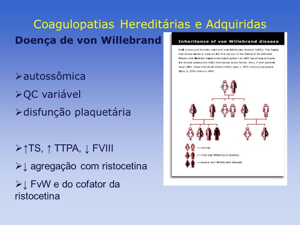 Coagulopatias Hereditárias e Adquiridas Doença de von Willebrand autossômica QC variável disfunção plaquetária TS, TTPA, FVIII agregação com ristoceti