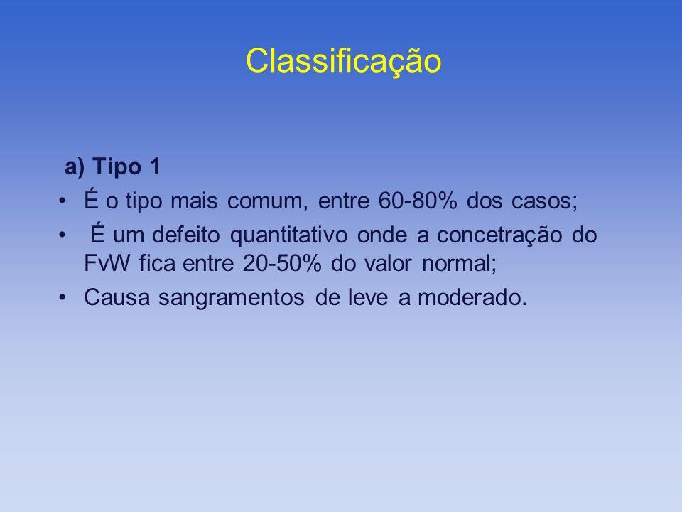 Classificação a) Tipo 1 É o tipo mais comum, entre 60-80% dos casos; É um defeito quantitativo onde a concetração do FvW fica entre 20-50% do valor no