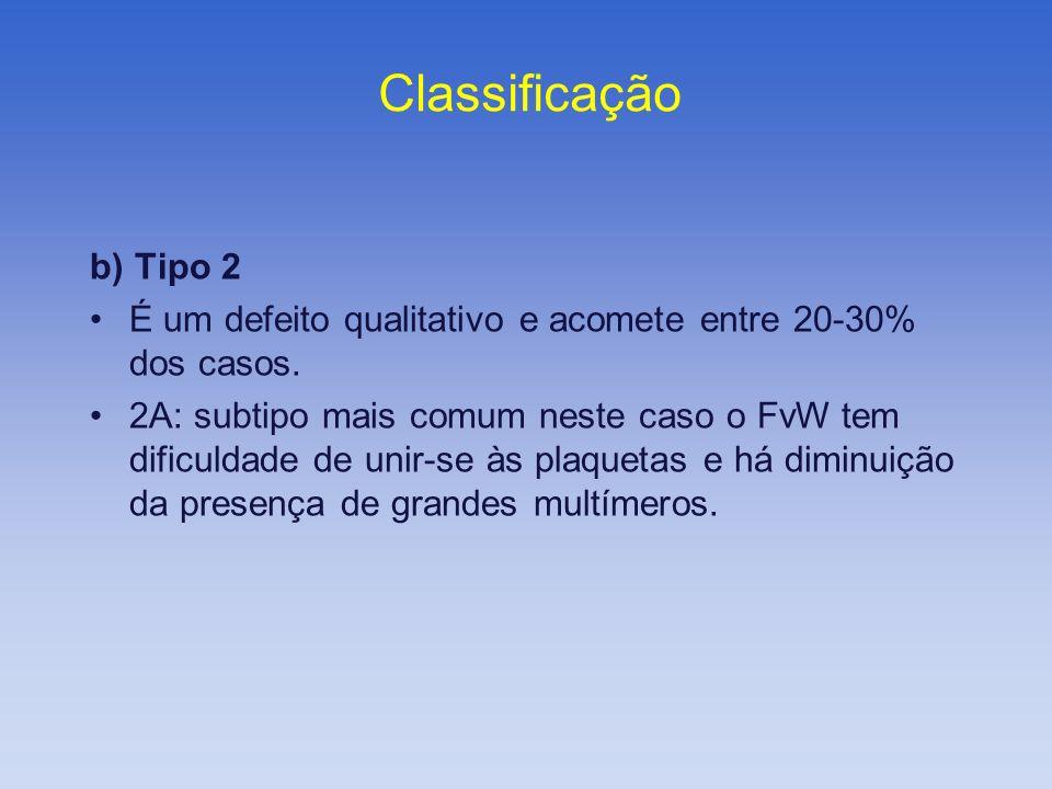 b) Tipo 2 É um defeito qualitativo e acomete entre 20-30% dos casos. 2A: subtipo mais comum neste caso o FvW tem dificuldade de unir-se às plaquetas e