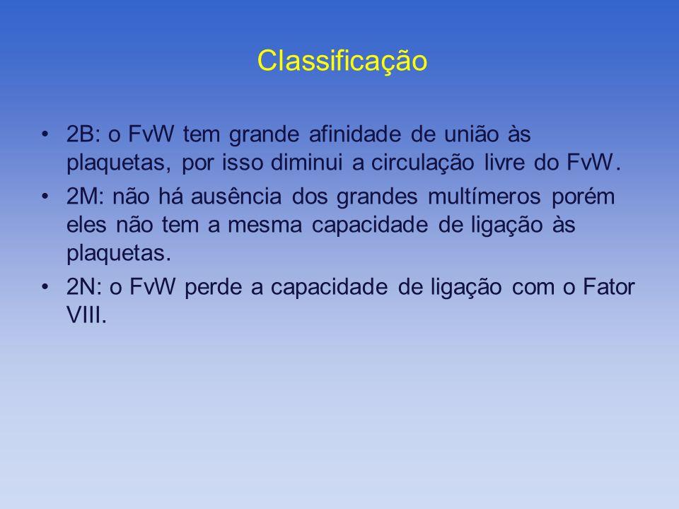 2B: o FvW tem grande afinidade de união às plaquetas, por isso diminui a circulação livre do FvW. 2M: não há ausência dos grandes multímeros porém ele