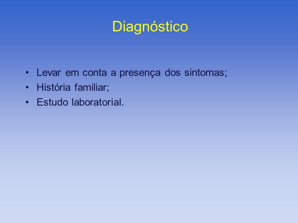 Diagnóstico Levar em conta a presença dos sintomas; História familiar; Estudo laboratorial.