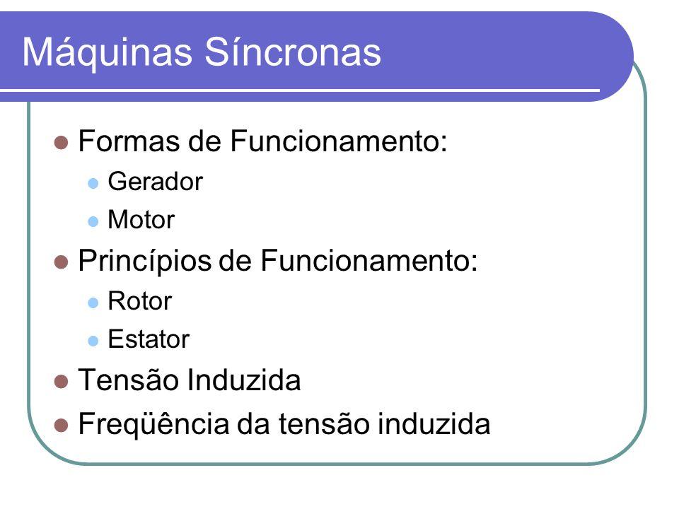 Máquinas Síncronas Formas de Funcionamento: Gerador Motor Princípios de Funcionamento: Rotor Estator Tensão Induzida Freqüência da tensão induzida