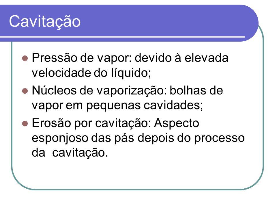 Cavitação Pressão de vapor: devido à elevada velocidade do líquido; Núcleos de vaporização: bolhas de vapor em pequenas cavidades; Erosão por cavitação: Aspecto esponjoso das pás depois do processo da cavitação.