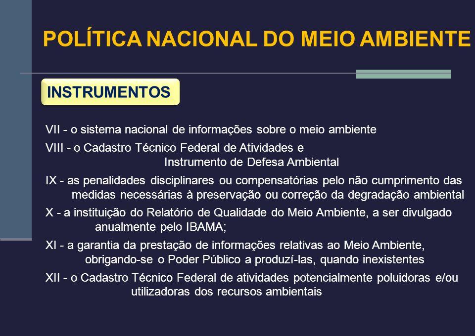 POLÍTICA NACIONAL DO MEIO AMBIENTE INSTRUMENTOS VII - o sistema nacional de informações sobre o meio ambiente VIII - o Cadastro Técnico Federal de Ati