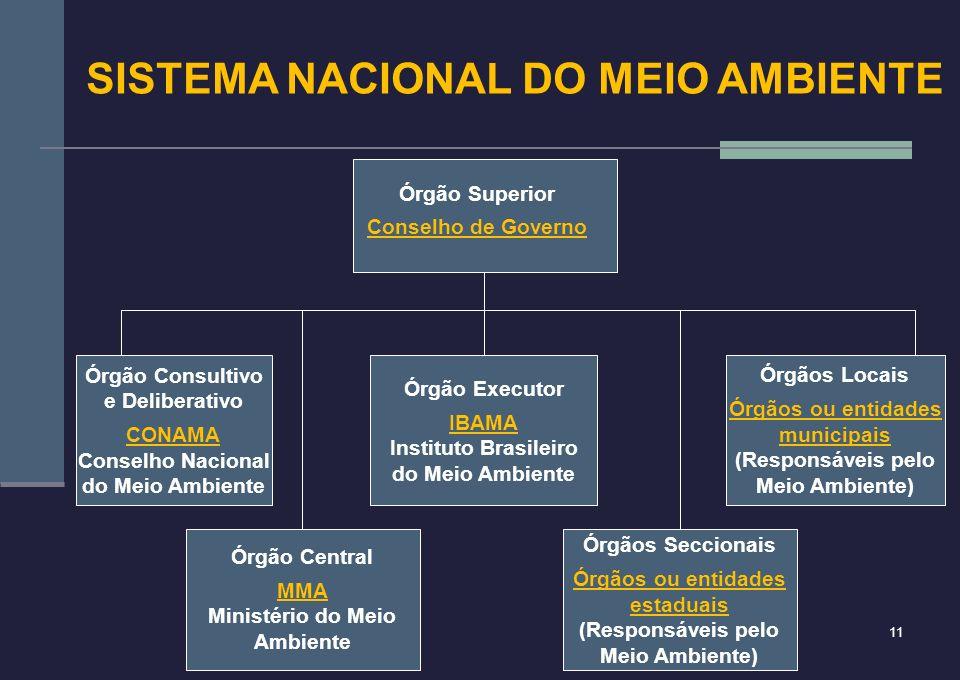11 Órgão Central MMA Ministério do Meio Ambiente Órgãos Seccionais Órgãos ou entidades estaduais (Responsáveis pelo Meio Ambiente) Órgão Executor IBAM