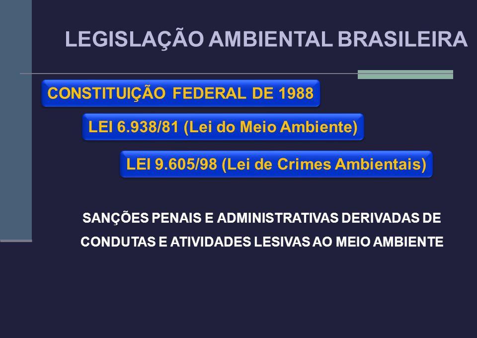 LEI 6.938/81 (Lei do Meio Ambiente) LEGISLAÇÃO AMBIENTAL BRASILEIRA CONSTITUIÇÃO FEDERAL DE 1988 LEI 9.605/98 (Lei de Crimes Ambientais) SANÇÕES PENAI
