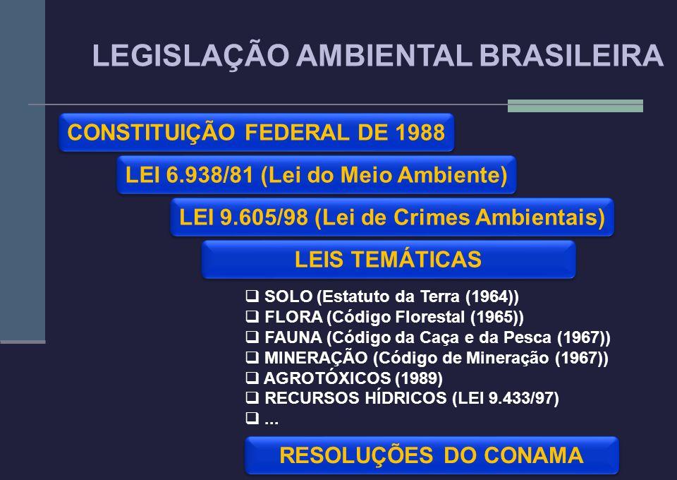 LEI 6.938/81 (Lei do Meio Ambiente) LEGISLAÇÃO AMBIENTAL BRASILEIRA CONSTITUIÇÃO FEDERAL DE 1988 LEI 9.605/98 (Lei de Crimes Ambientais) RESOLUÇÕES DO