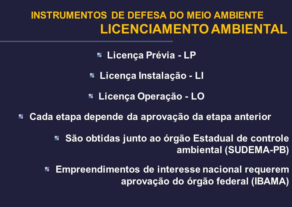 Licença Prévia - LP Licença Instalação - LI Licença Operação - LO Cada etapa depende da aprovação da etapa anterior São obtidas junto ao órgão Estadua