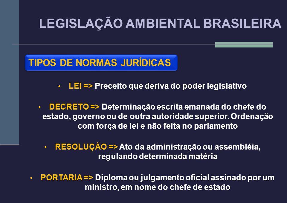 TIPOS DE NORMAS JURÍDICAS LEI => Preceito que deriva do poder legislativo DECRETO => Determinação escrita emanada do chefe do estado, governo ou de ou