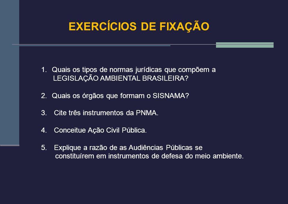EXERCÍCIOS DE FIXAÇÃO 1.Quais os tipos de normas jurídicas que compõem a LEGISLAÇÃO AMBIENTAL BRASILEIRA? 2.Quais os órgãos que formam o SISNAMA? 3. C