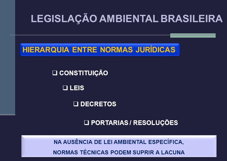 4 HIERARQUIA ENTRE NORMAS JURÍDICAS CONSTITUIÇÃO LEIS DECRETOS PORTARIAS / RESOLUÇÕES NA AUSÊNCIA DE LEI AMBIENTAL ESPECÍFICA, NORMAS TÉCNICAS PODEM S