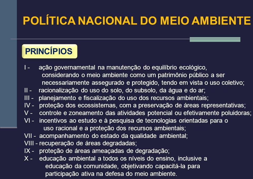 POLÍTICA NACIONAL DO MEIO AMBIENTE PRINCÍPIOS I - ação governamental na manutenção do equilíbrio ecológico, considerando o meio ambiente como um patri