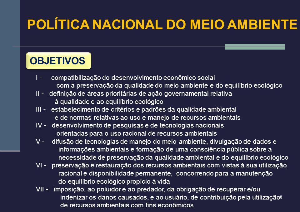 8 POLÍTICA NACIONAL DO MEIO AMBIENTE OBJETIVOS I - compatibilização do desenvolvimento econômico social com a preservação da qualidade do meio ambient