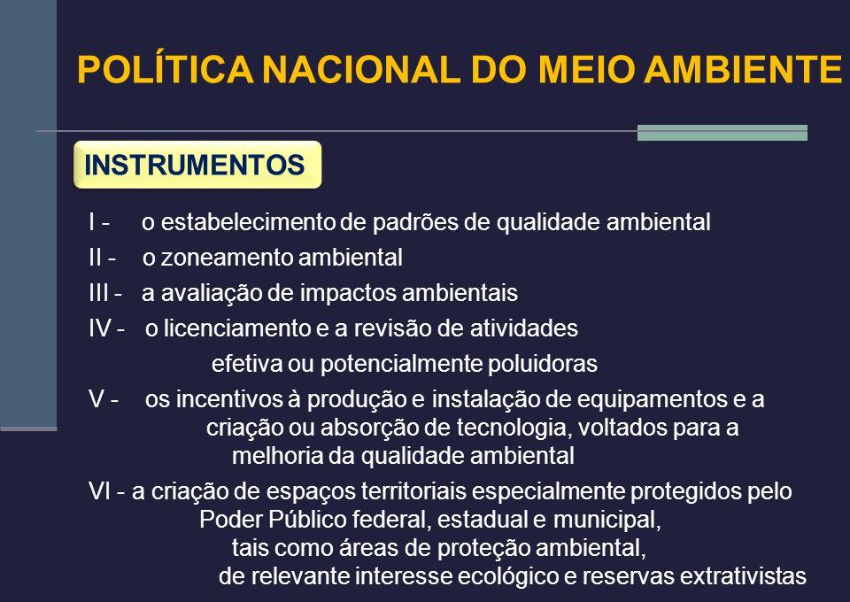 POLÍTICA NACIONAL DO MEIO AMBIENTE INSTRUMENTOS I - o estabelecimento de padrões de qualidade ambiental II - o zoneamento ambiental III - a avaliação
