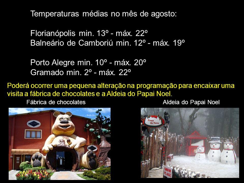 Temperaturas médias no mês de agosto: Florianópolis min.