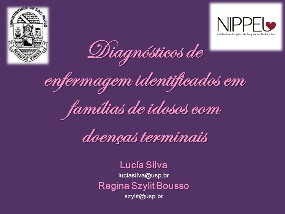 Diagnósticos de enfermagem identificados em famílias de idosos com doenças terminais Lucía Silva luciasilva@usp.br Regina Szylit Bousso szylit@usp.br