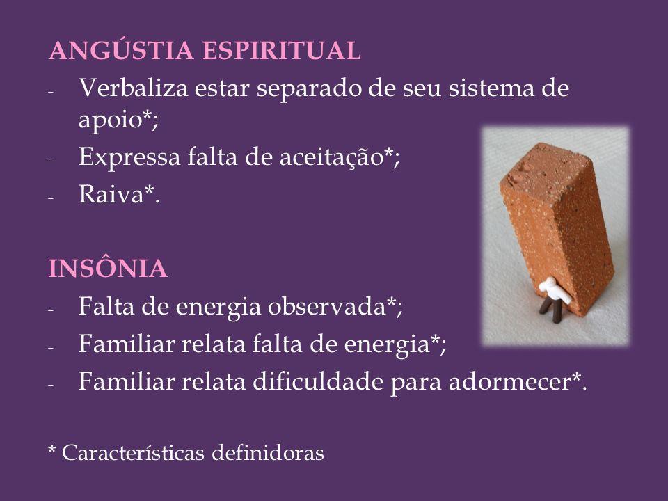 ANGÚSTIA ESPIRITUAL - Verbaliza estar separado de seu sistema de apoio*; - Expressa falta de aceitação*; - Raiva*. INSÔNIA - Falta de energia observad