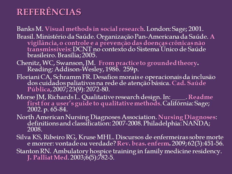 REFERÊNCIAS Banks M. Visual methods in social research. London: Sage; 2001. Brasil. Ministério da Saúde. Organização Pan-Americana da Saúde. A vigilân