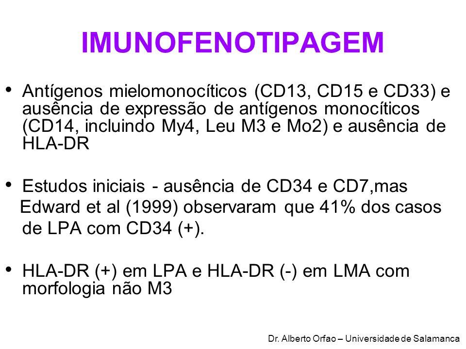 IMUNOFENOTIPAGEM Antígenos mielomonocíticos (CD13, CD15 e CD33) e ausência de expressão de antígenos monocíticos (CD14, incluindo My4, Leu M3 e Mo2) e