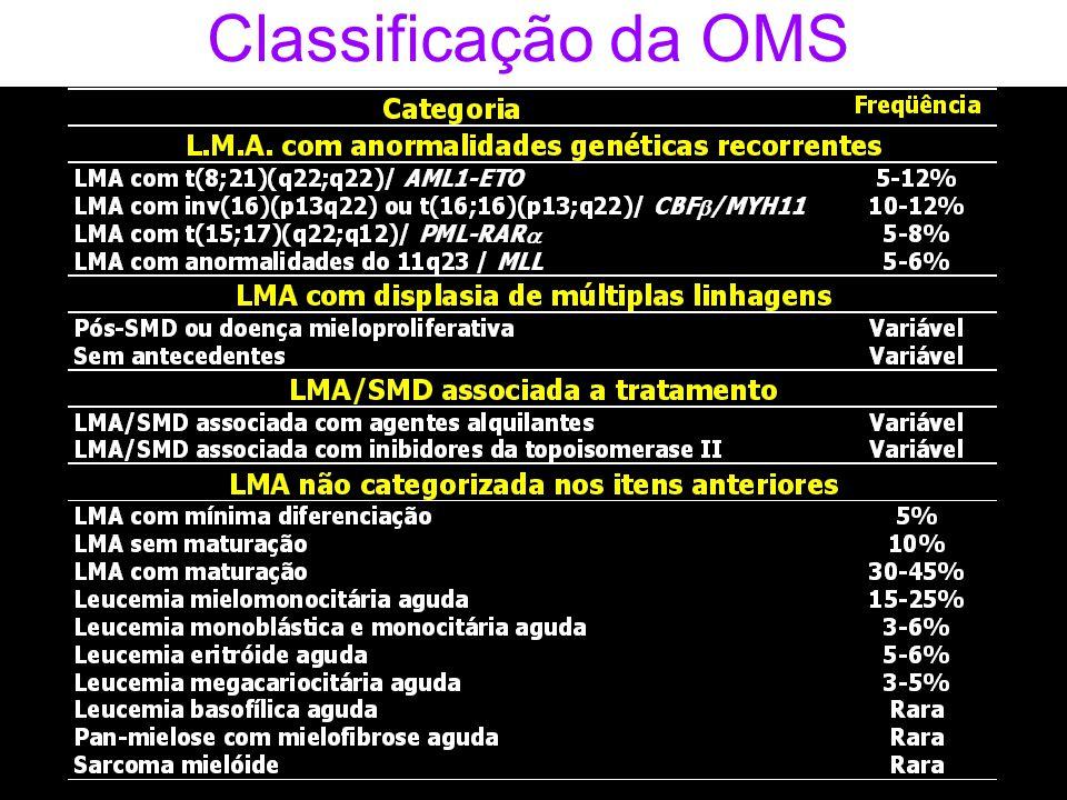 I II III IV Monoblasto Promonócito Monócito Macrófago CD34CD117HLA-DR CD117HLA-DR CD11bCD15+fracoCD14 CD11bCD14 CD34/CD117/CD45/CD13.33 CD14/CD33/CD45/CD34 Diferenciação Monocítica – MO normal Painéis de anticorpos monoclonais CD13+forteCD33+forte CD13+forteCD33+forte CD13+CD33+ CD11bCD15CD14 CD13+forteCD33+forte HLA-DRHLA-DR Dra.