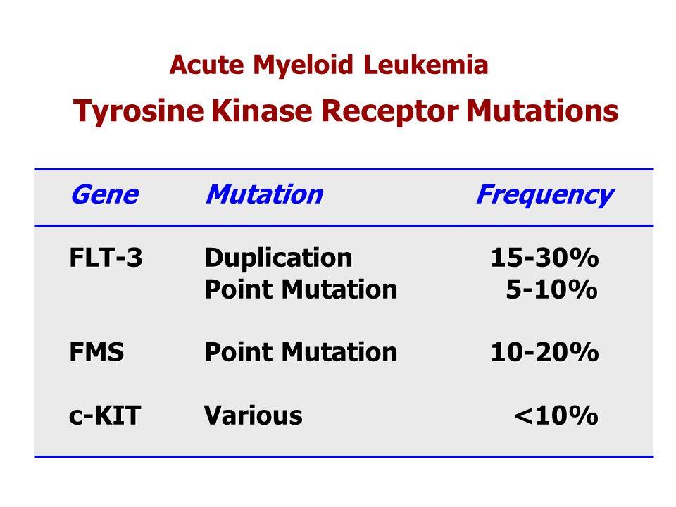 Acute Myeloid Leukemia Tyrosine Kinase Receptor Mutations GeneMutationFrequency FLT-3Duplication 15-30% Point Mutation 5-10% FMSPoint Mutation 10-20%