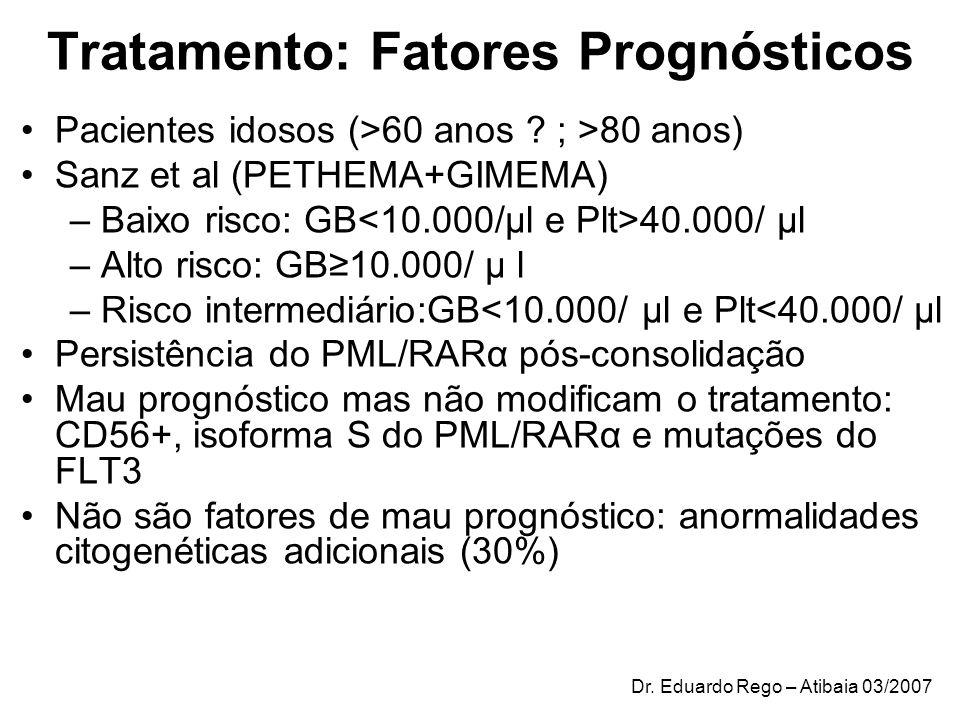 Tratamento: Fatores Prognósticos Pacientes idosos (>60 anos ? ; >80 anos) Sanz et al (PETHEMA+GIMEMA) –Baixo risco: GB 40.000/ μl –Alto risco: GB10.00