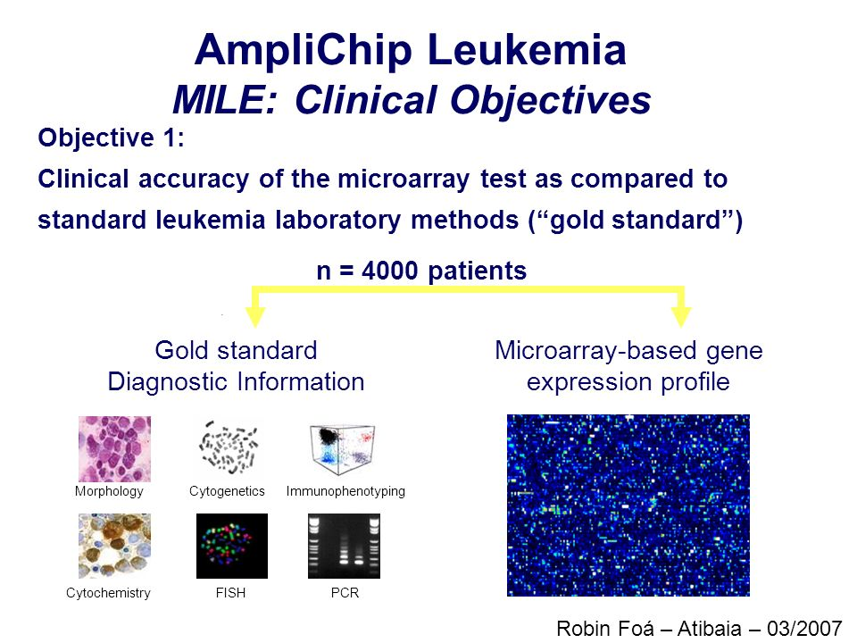 Objective 1: Clinical accuracy of the microarray test as compared to standard leukemia laboratory methods (gold standard) Gold standard Diagnostic Inf