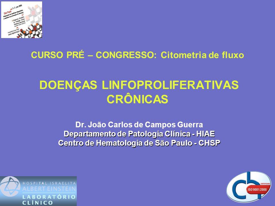 COMPARAÇÃO ENTRE LLC, LLC/LPL, LPL LLC LLC/LPL LPL Leucócitos (x10 9 )10-120intermediário>100 Pro linfócitos (%) 55 Infiltração esplênicainfreq.intermediáriopresente Adenomegaliasfreqintermediárioraro Ig de superfíciefracabifásicaintensa CD 5 (+)pres.bifásica<30% FMC-7 (+)<20%<20%presente Anorm.Citogenéticas trissomia 12trissomia 1214q+