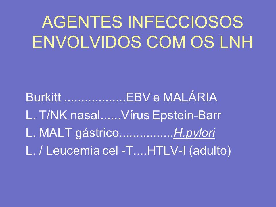 AGENTES INFECCIOSOS ENVOLVIDOS COM OS LNH Burkitt..................EBV e MALÁRIA L. T/NK nasal......Vírus Epstein-Barr L. MALT gástrico...............