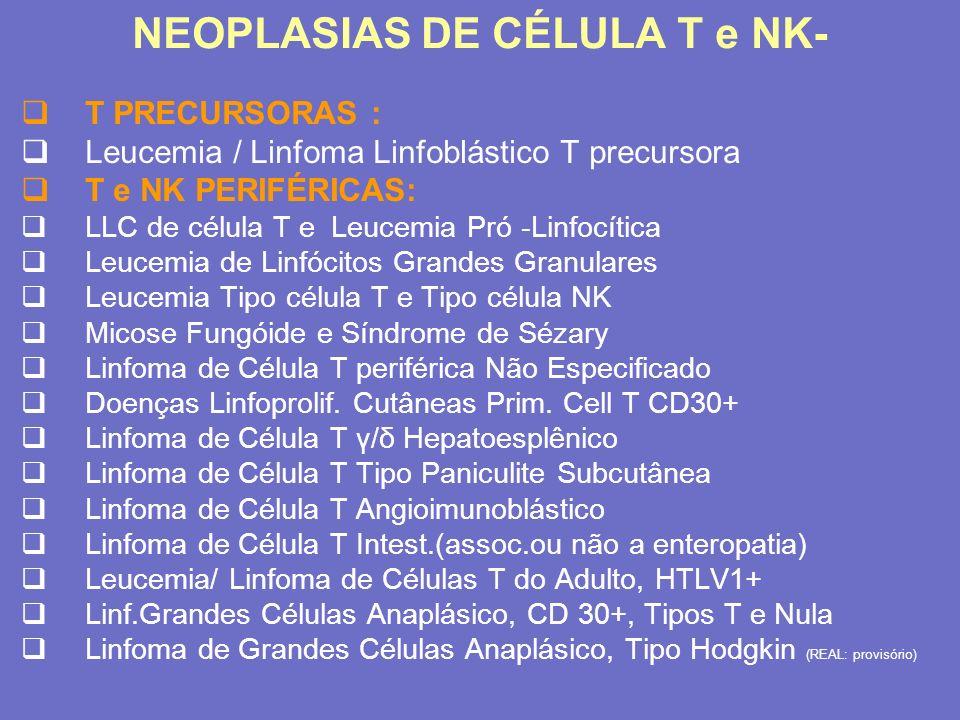 B Imatura Pró-B D H -J H Pré-B V H -D H J H V L -J L IgM Medula óssea Memória B Célula do plasma Mudança IgD B NaïveCentroblastoCentrócito IgM Mutações somáticas Linfonodo Geração e maturação de células B Adpatado de Félix Reyes durante o EHA 2003 em Lyon, França, 12-15 de Junho
