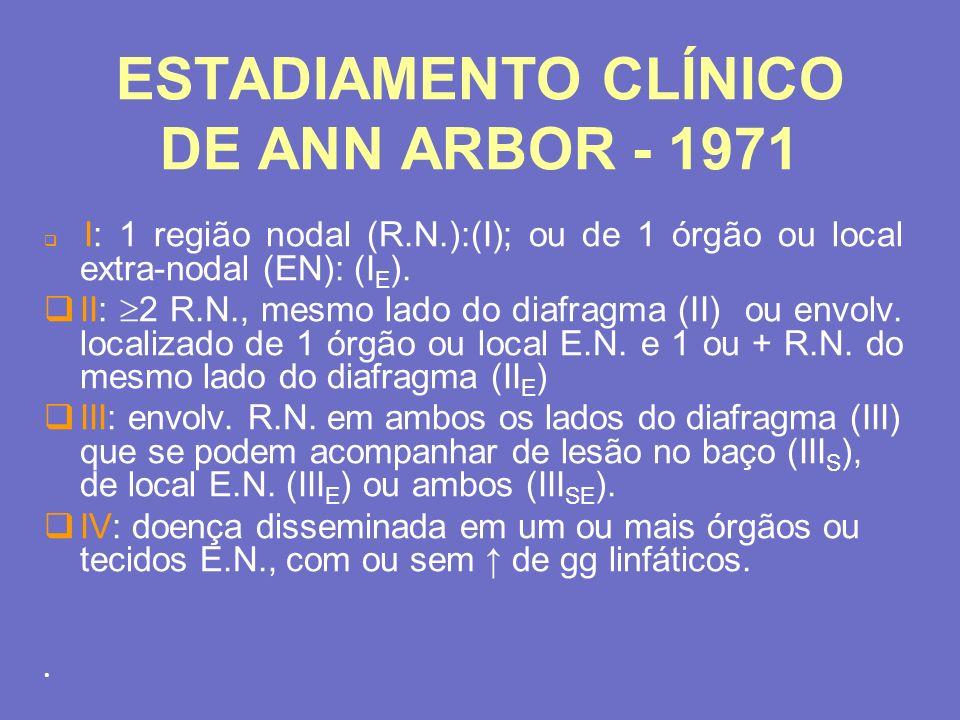 ESTADIAMENTO CLÍNICO DE ANN ARBOR - 1971 I: 1 região nodal (R.N.):(I); ou de 1 órgão ou local extra-nodal (EN): (I E ). II: 2 R.N., mesmo lado do diaf