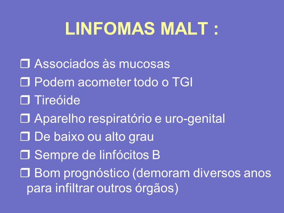 LINFOMAS MALT : r Associados às mucosas r Podem acometer todo o TGI r Tireóide r Aparelho respiratório e uro-genital r De baixo ou alto grau r Sempre
