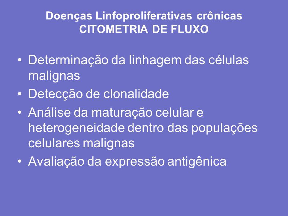Doenças Linfoproliferativas crônicas CITOMETRIA DE FLUXO Determinação da linhagem das células malignas Detecção de clonalidade Análise da maturação ce