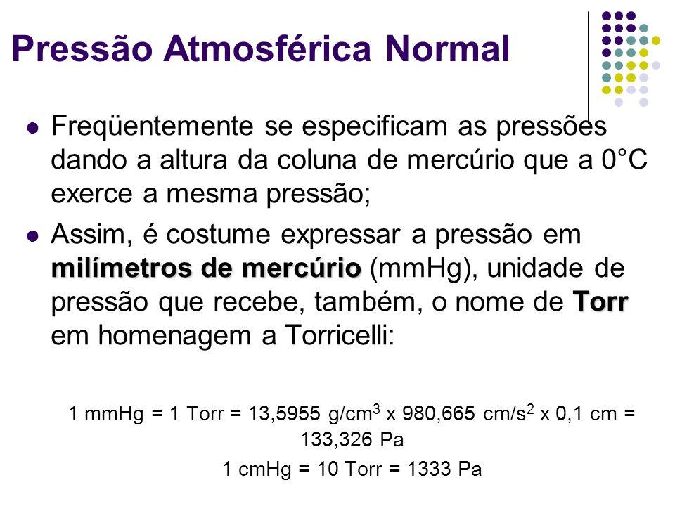 Freqüentemente se especificam as pressões dando a altura da coluna de mercúrio que a 0°C exerce a mesma pressão; milímetros de mercúrio Torr Assim, é costume expressar a pressão em milímetros de mercúrio (mmHg), unidade de pressão que recebe, também, o nome de Torr em homenagem a Torricelli: 1 mmHg = 1 Torr = 13,5955 g/cm 3 x 980,665 cm/s 2 x 0,1 cm = 133,326 Pa 1 cmHg = 10 Torr = 1333 Pa Pressão Atmosférica Normal