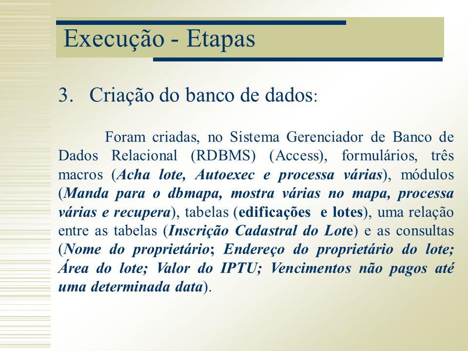 Execução - Etapas Foram criadas, no Sistema Gerenciador de Banco de Dados Relacional (RDBMS) (Access), formulários, três macros (Acha lote, Autoexec e