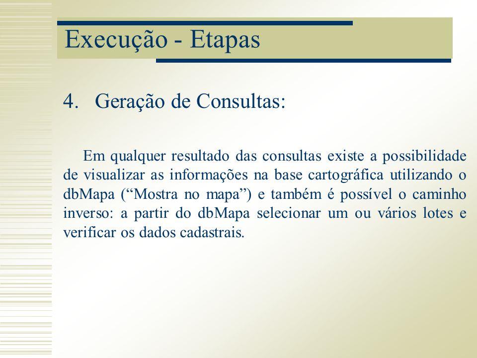 Execução - Etapas Em qualquer resultado das consultas existe a possibilidade de visualizar as informações na base cartográfica utilizando o dbMapa (Mo
