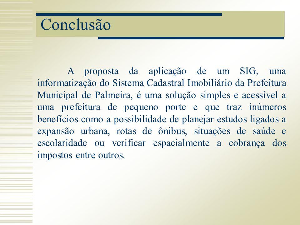 Conclusão A proposta da aplicação de um SIG, uma informatização do Sistema Cadastral Imobiliário da Prefeitura Municipal de Palmeira, é uma solução si